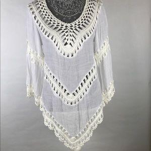 Boston Proper Boho Asymmetrical Crochet Shirt S